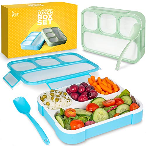 - Bento Lunch Box Container For Kids and adults, 2 Leakproof Food & Meal Prep storage With 4 Compartments + Cutlery Perfect For Healthy Food & Snacks BPA & FDA Free Microwave Dishwasher Safe - PLUSPOINT
