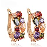 Women Lady Elegant shiny colorful Crystal Rhinestone Ear Stud Earrings Fashion Walking Street