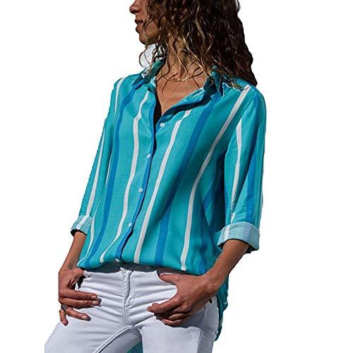 T Loose Clair Longue 1 Top Cou Blouse Bleu Shirt Femme Chemise Ray Manche Printemps Casual V Decha Chic Automne Chemisier Imprim vwCHqXw6x