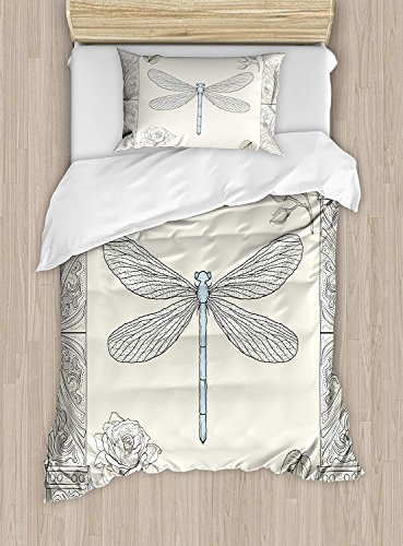 Fantasy Star Twin XL Extra Long Bedding Set,Dragonfly Duvet Cover Set,Hand Drawn Royal Ancient Style Rose Petals Leaves and Ornate Figures Design,Include 1 Flat Sheet 1 Duvet Cover and 2 Pillow Cases