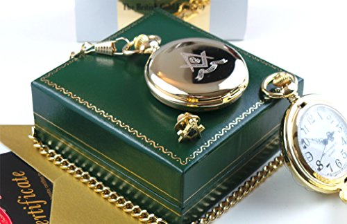 Indulgent Gift Set - Freemason Masonic Pure 24K Gold Clad Lapel Pin Badge And Pocket Watch Set Brotherhood Engraved Crest Emblem In Presentation Case