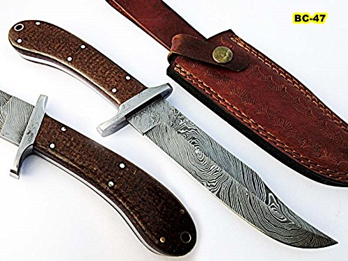 BC-47, Custom Handmade Damascus Steel Knife - Stunning Jute Micarta Handle