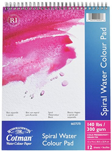 Reeves 12 Sheets 140 lb Cotman Spiral Bound Water Color Paper, 9