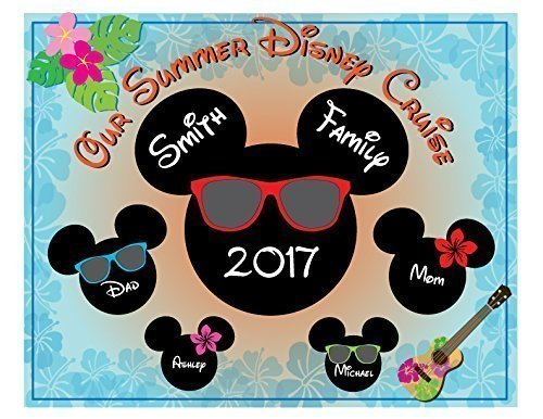 HANDMADE Disney Inspired 8 x 10 Summer Beach Time Family Magnet for Disney Cruise