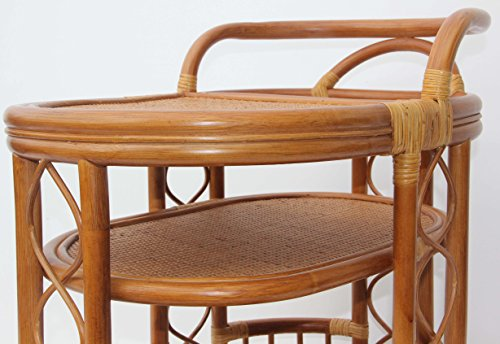 Moving Serving Cart Bar Table Natural Rattan Wicker Exclusive Handmade ECO, Cognac by SunBear Furniture (Image #2)'