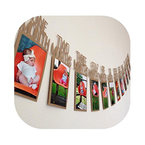 Price comparison product image Muxika Baby Growth Record 1-12 Mouth Photo Rope Banner for 1st Birthday Party Decoration (Brown)