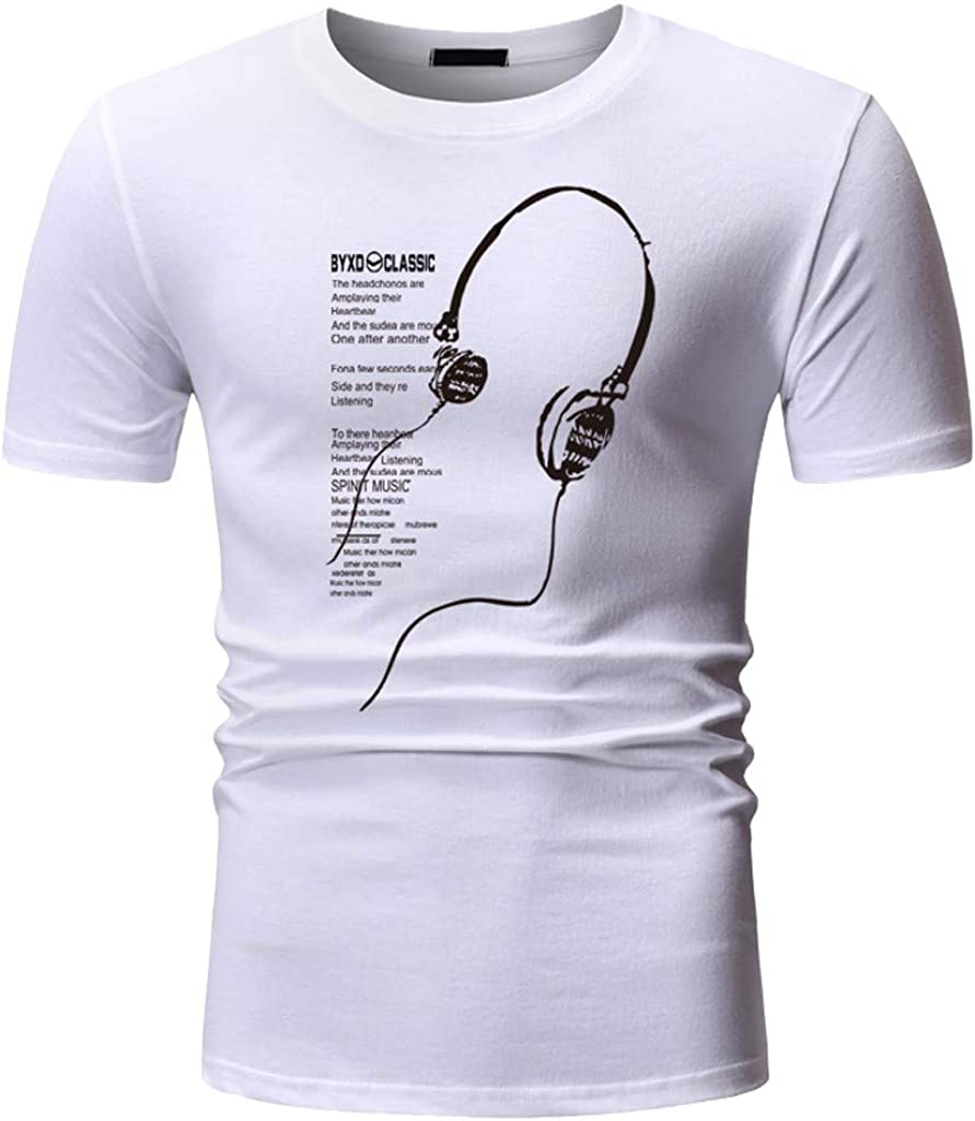 4Clovers Mens Short-Sleeve O-Neck Cotton T-Shirt Tops White