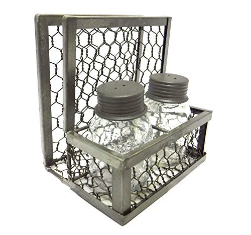 (Park Designs Chicken Wire Napkin Holder with Mason Jar Salt & Pepper Shakers,Silver,6x6 inch)