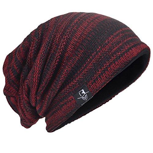 HISSHE Men Oversize Skull Slouch Beanie Large Skullcap Knit Hat - Purple Beanie Long