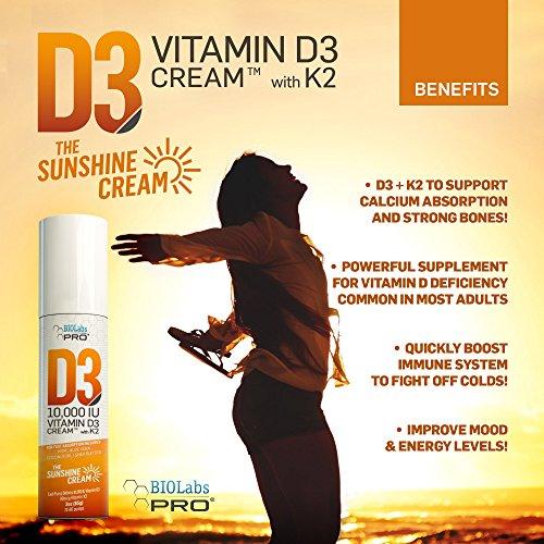 10,000 IU D3 Vitamin D Cream + Vitamin K2 - Professional Strength - Aloe  Vera, MSM, Coconut Oil, Shea Butter for Maximum Absorption - 3oz