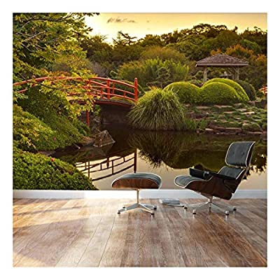 Japanese Footbridge and Garden - Landscape - Wall Mural, Removable Sticker, Home Decor - 66x96 inches