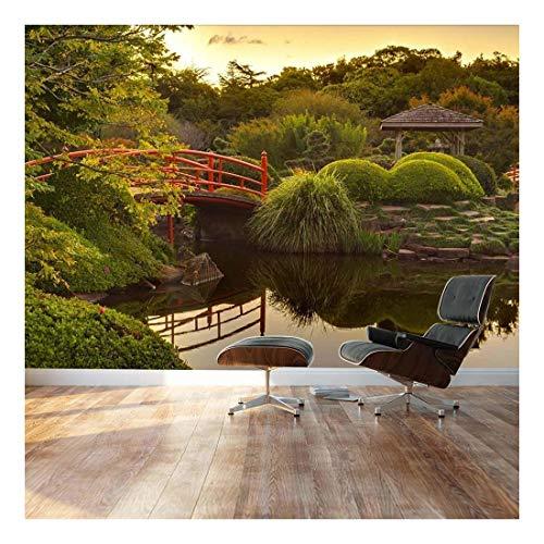 Japanese footbridge and garden Landscape Wall Mural