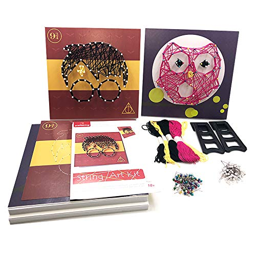 Harry Potter Craft - craftsting String Art Kit for Kids and Adults, All-in-One, DIY 2 Large String Art Canvases-Harry Potter and Owl Edition