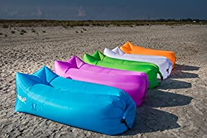 ChillaX Inflatable Lounger with Carry Bag, Securing Stake and Bottle Opener for Travelling, Camping, Hiking, Pool and Beach Parties at 'Sock Monkeys'