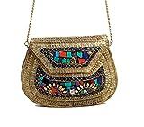 Alvi Qmar Handmade Antique Metal Clutch Purse Wallet hard Handbag with Strong Golden Chain Multi Elipse Shape for Women (Golden MultiColor 18X13)