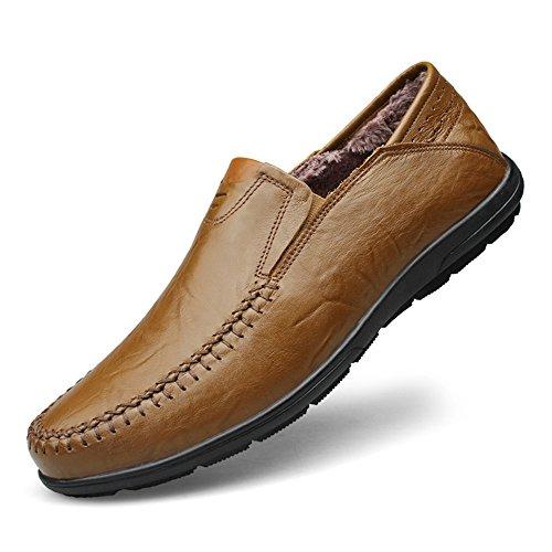 Plano Cuero Casual Caqui piel Ponerse Shenn Boda Zapatos Hombres Mocasines Clásico 5gaxw7Cq7