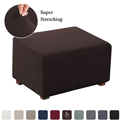 Stretch Ottoman Slipcover Folding Storage Stool Furniture Protector Soft Rectangle Slipcover with Elastic Bottom(Normal Size Ottoman, Chocolate Brown) (Cushions Summer Furniture)