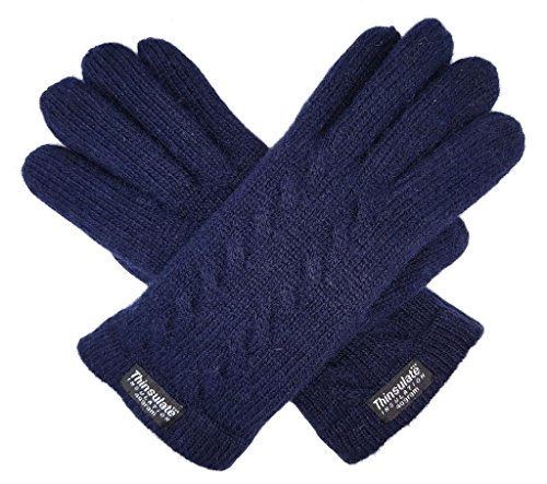 Bruceriver Ladie's Pure Wool Knitted Gloves with Thinsulate Lining and Cable design Size L ()
