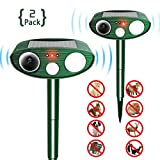 FOCUSPET Animal Ultrasonic Repellent,Outdoor Solar Powered Repellent with Motion Sensor Ultrasonic LED Flash Light,Waterproof Farm Garden Yard repellent for Cats, Dogs,Raccoons,Wild Boar,Skunk(2PACK)