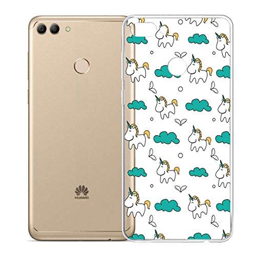 Funda para Huawei Enjoy 8 Plus / Huawei Y9 2018 , IJIA Transparente Blanco La Literatura Y Arte Flores TPU Silicona Suave Cover Tapa Caso Parachoques Carcasa Cubierta para Huawei Enjoy 8 Plus / Huawei HX55
