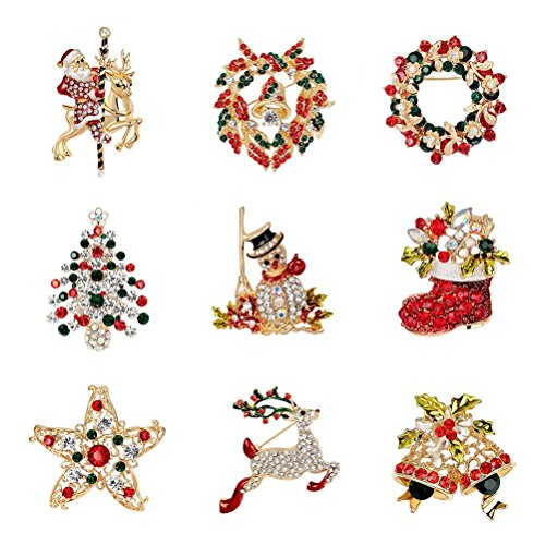 Maggie 9 PCS/Pack Rhinestone Crystal Christmas Brooch Pin Set for Christmas Decorations Ornaments Gifts