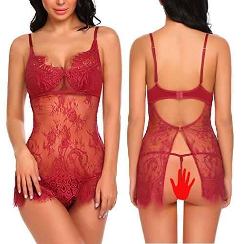Teddy Adjustable Collar - ADOME Women Babydoll Lingerie Lace Chemise Backless Nightwear Teddy Dress Dark Red M