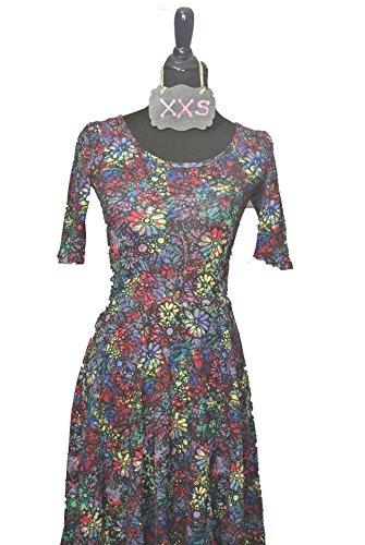 8899256d Lularoe Unicorn! Nicole Dress Black Psychedelic Flower Print XXS - Fashion