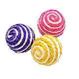 Potelin Pet Cat Toy Cat Sisal Rope Ball Pet Interactive Toy Cat Chew Teaser Toy Kitten Chase Toy 1PCS
