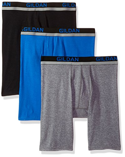 Gildan Men's Cotton Spandex Athletic Long Leg Boxer Briefs, 3-Pack, Black/Royal/Graphite Heather, Extra Large ()