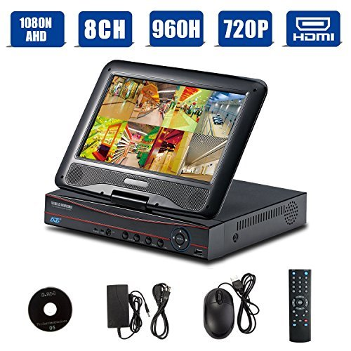 Pci Dvr Board (H.264 8CH 1080N AHD/Onvif 720P 1080P Hybrid NVR/960H CCTV Network Security DVR 3 in 1 w/ 10.1inch LCD Monitor P2P QR Scan Easy Setup Phone Remote View HDMI VGA Output Motion Detection(Black,No HDD))