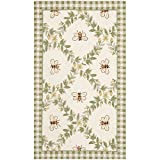 Cheap Safavieh Chelsea Collection HK55A Hand-Hooked Ivory and Green Premium Wool Area Rug (3'9″ x 5'9″)
