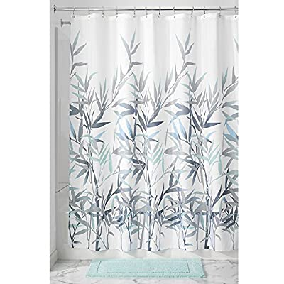 "iDesign Anzu Fabric Shower Curtain Water-Repellent and Mold- and Mildew-Resistant for Master, Guest, Kids', College Dorm Bathroom, 72"" x 72"", Mint Green and Gray - FABRIC SHOWER CURTAIN: High quality wrinkle resistant 100% polyester mint and gray fabric gives your shower stall a sleek look. Great for master bathroom, guest bathroom, child's bathroom, or basement bathroom STYLISH: Neutral mint and gray color scheme and beautiful bamboo print looks great with any décor RUST-RESISTANT GROMMETS: 12 rust-resistant metal grommets and reinforced top header are suitable for S hooks, shower rings, and other shower curtain hooks for easy hanging - shower-curtains, bathroom-linens, bathroom - 5114Q6BKAPL. SS400  -"