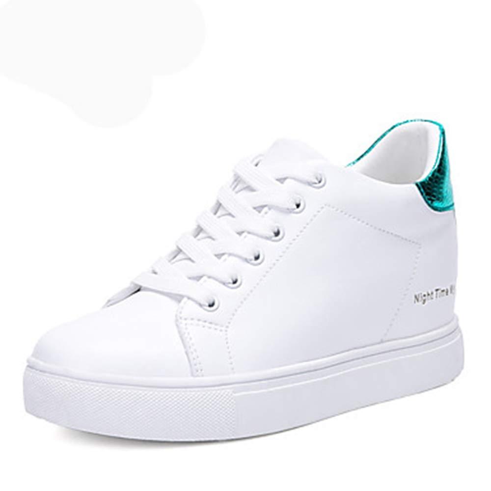 TTSchuhe Damen Schuhe Kunstleder Frühling/Herbst Gladiator Sneakers Walking Keilabsatz Runde Zehe Schnürsenkel Weiß/Schwarz / Grün