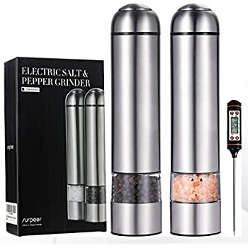 Salt and Pepper Shakers, SURPEER Electric Adjustable Pepper Grinder with Strong Battery Powered - Ceramic Grinder Core - Automatic Led Light - Easy to Use - Meat Thermometer Included - 2 Pieces Set