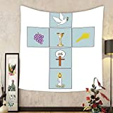 Gzhihine Custom tapestry Baptism Decorations Tapestry Cute Girl With Wings Fairy Tale Golden Hair Pray Payers Peace Saint Spiritual Illustration Bedroom Living Room Dorm Decor