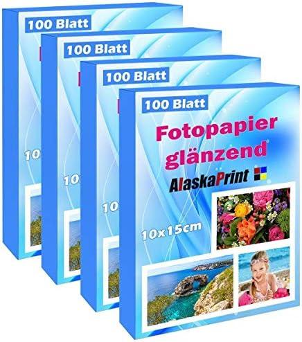 Alaskaprint 400 Blatt fotopapier 10x15 cm 240g/m² hochglanz Trocken wasserfest Photopapier Fotokarten Hochweiß fotoblätter für Drucker (Tintenstrahldrucker)