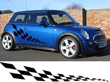 CHECKER FLAG CAR GRAPHICS STICKERS STRIPES DECALS MINIKIADACIA - Vinyl decals for cars uk