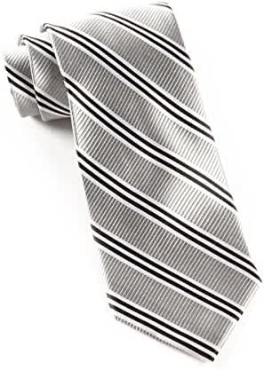 100% Woven Silk Silver Striped Tie