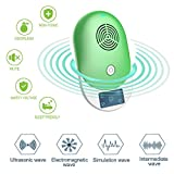 Ultrasonic Pest Repellent-Electronic Pest Control Insect Killer , Home Indoor and Outdoor Best Plug In Pesto Repeller for Mice Rats Squirrels Bugs Roaches Spiders Fleas Ants Rodents Mosquitos (Green)