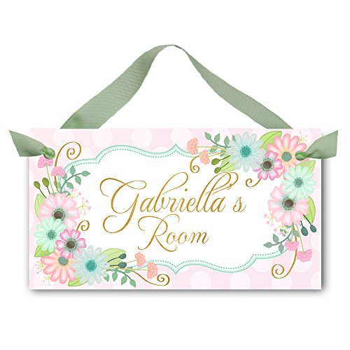 (DOOR SIGN Pink and Aqua Flowers Girls Bedroom and Baby Nursery Kids Bedroom Wall Art DS0451)