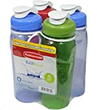 Rubbermaid Refill Reuse Chug Bottle, 20 Ounce, Assorted Colors, 4 Pack 1787306