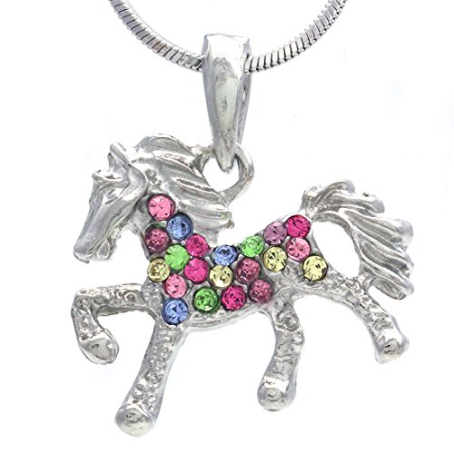 Soulbreezecollection Multicolor Horse Necklace Pony Mustang Animal Pendant Charm Ladies Women ()