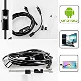 LJKEN Endoscope Android USB Borescope Camera 2.0 Megapixels CMOS HD 6 Adjustable Led Waterproof Inspection Snake Camera for Smartphone with OTG Function(5M)