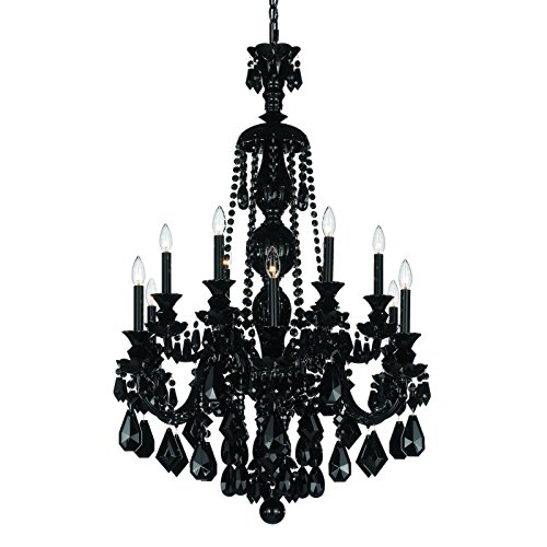 Schonbek 5708BK Swarovski Lighting Hamilton Chandelier, Wet Black