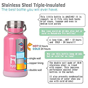 Rehydrate Pro (Pink) Junior Kids Insulated Stainless Steel and Environmentally Friendly for Hot or Cold Drinks and Travel. 11.83 Oz / 350ml Hydration Flask Includes Free 'Flip N Sip' Sports Cap