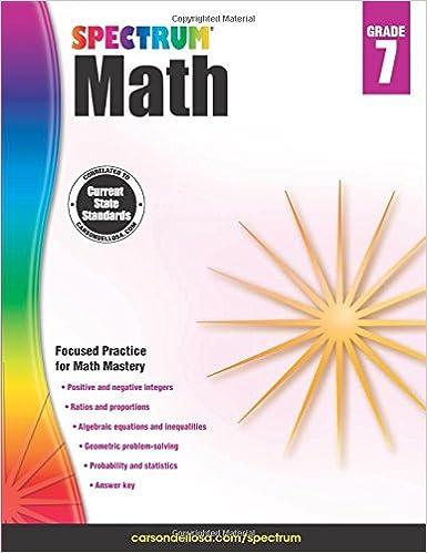 spectrum math workbook grade 7 spectrum 0044222238582 amazon com