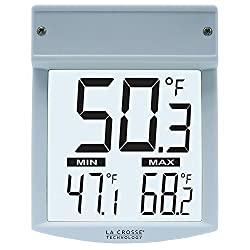 La Crosse WT-62U-TBP Digital Window Thermometer, -22 To 122 Deg F, AAA Alkaline