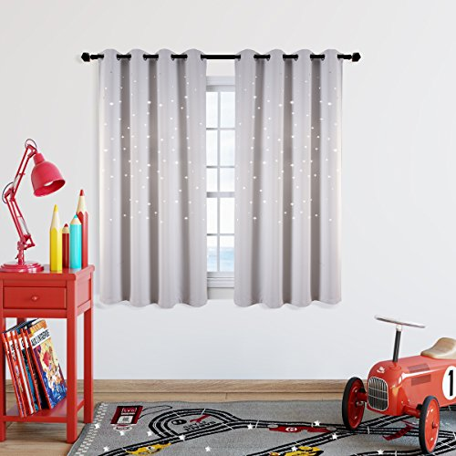 Kotile White Short Window Drapes with Die Cut Twinkle Star for Baby Nursery, 2 Panels 63 Inch Length Thick and Soft Room Darkening Curtains for Cosmic Themed Bedroom, Greyish White