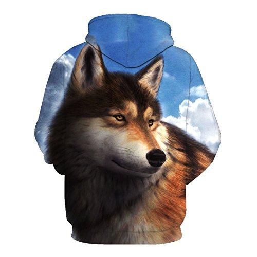 Pochette Top Veste Capuche Unisexe 15 Avec shirt Style Acvip Sweat Loup À Imprimé Blouse P1BBn5q