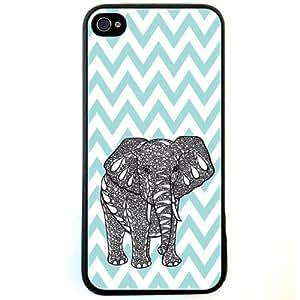 Change Tiffany Blue Chevron Elephant iPhone 4 Case For iPhone 4 4S 4G (Fashion design-1)